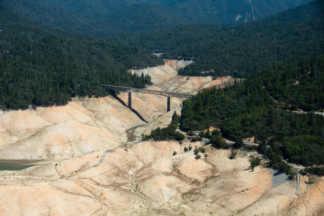 Lake Oroville showing The Enterprise Bridge looking down the South Fork on September 5th, 2014.