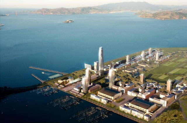 A rendering of the $6 billion Treasure Island redevelopment. dbox inc.